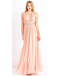 e9b4ef1563b Nude pink mesh maxi dress with cut out back detail and fully embellished  straps. This Forever Unique dress is fully lined
