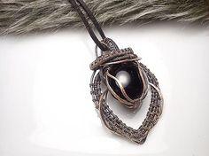 Serena.. wire pendant black stone diy wrapping copper jewelry