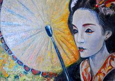 "Saatchi Online Artist Alex Solodov; Painting, ""Geisha with Umbrella"" #art"