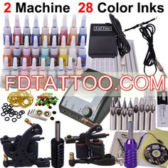 Tattoo Kit With LCD Power And 28 Color Ink 2 Guns Tattoo Machine   Wholesale Price:US $48.09