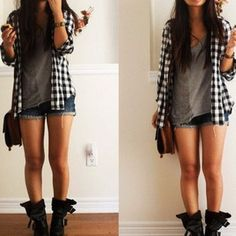 Black and white checkered jacket, grey tank top, blue jean shorts, and a black boots. #InStyle.