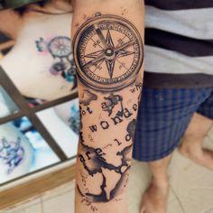 Compass World Map tattoo World Map Tattoos, Compass Tattoo, Hand Tattoos, Black And Grey, Instagram
