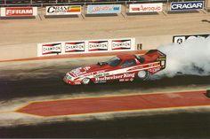 Kenny Bernstein in his Budweiser King funny car at Denver's Bandimere Speedway.