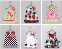 Several summer dresses with appliqués Little Dresses, Little Girl Dresses, Girls Dresses, Summer Dresses, Dress Anak, Baby Dress Patterns, Toddler Dress, Baby Sewing, Doll Clothes