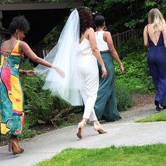#LEMBASbride Eula in her custom 'blush' circle veil // She got my back! They got my front! #BynoeWedding2015