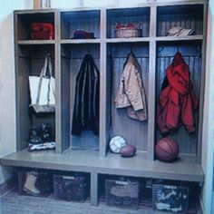 Mudroom - built-ins and ample space underneath bench for boots & baskets. Home Renovation, Home Remodeling, Built In Lockers, Breezeway, Bench Seat, Wire Baskets, Cubbies, Built Ins, Mudroom