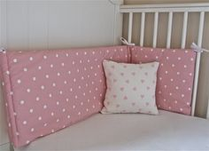 Pink & white polka dot cot bumper, by Little France Boutique, £25.00