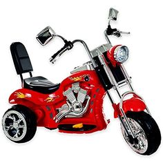 Ride on Toy, 3 Wheel Trike Chopper Motorcycle for Kids by Hey! - Battery Powered Ride on Toys for Boys and Girls, 2 - 4 Year Old - Red - Farklı Motor Çeşitleri 3 Wheel Motorcycle, Kids Motorcycle, Motorcycle Battery, Chopper Motorcycle, Scrambler Motorcycle, Moto Bike, Toys For Boys, Kids Toys, Boy Toys