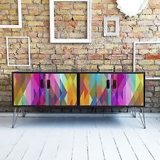 G Plan Sideboard In Multi Coloured Kaleidoscope Pattern Upcycled
