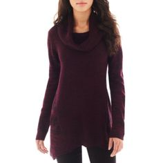 """<p>Marled and space-dyed panels give our cowlneck tunic sweater tantalizing texture.</p><div style=""""page-break-after: always"""