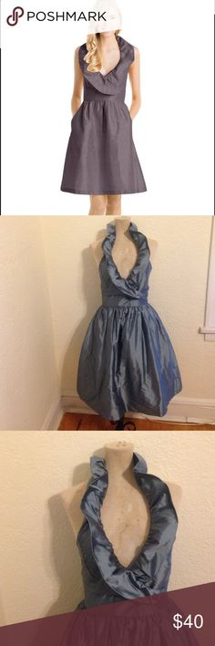 """Lula Kate ruffle neck halter 100% silk dress Icey blue super cute ruffle neck ties behind neck halter low cut back. Has pockets. Bust 32"""" waist 28"""" hips up to 40"""" material 100% silk Lula Kate Dresses"""