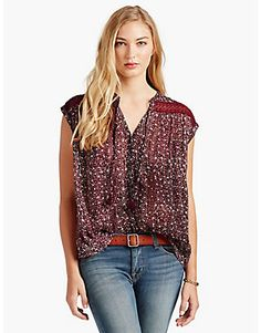 FLORAL INSET TOP, RED MULTI