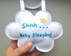 Plush Baby Sleeping Sign Cloud Baby Room by SoSimpleSoSweet Baby Room Diy, Baby Bedroom, Baby Boy Rooms, Baby Room Decor, Nursery Decor, Diy Baby, Baby Door Decorations, Baby Sleeping Sign, Sleeping Bag