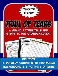US History Primary Source The Trail of Tears: A Grandfathe Social Studies Lesson Plans, 5th Grade Social Studies, Social Studies Classroom, Teaching Social Studies, Teaching Science, Social Science, History Class, Us History, American History