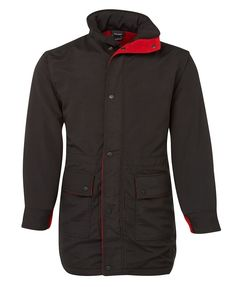 JB's LONG LINE JACKET BLACK/RED 3LL - JB's WEAR Line Jackets, Rugby, Raincoat, Hoodies, Red, How To Wear, Black, Tops, Fashion