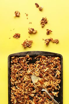 Crunchy coconut granola with slivered almonds, pecans, dried blueberries, and rolled oats! Naturally sweetened, butter-free, and a super delicious breakfast or snack.