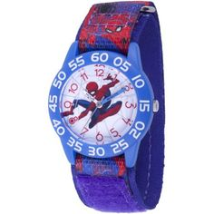 Marvel Spider-Man Boys' Blue Plastic Time Teacher Watch, Red and Blue Printed Spider-Man Hook and Loop Nylon Strap Boy Blue, Red And Blue, Spiderman, Telling Time, Omega Seamaster, Mens Gift Sets, Baby Clothes Shops, Baby Shop, Watches For Men