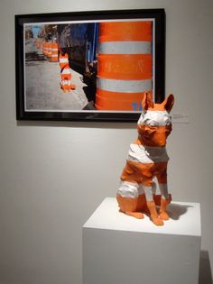 Love this concept- Create a sculpture and place in an environment and create a digital image of it! Merrie Wright, Construction Zone: Coyote, earthenware sculpture and digital print