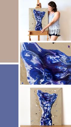 'Blue Nude' is a blue and bronze resin and acrylic figure painting on a canvas. This abstract nude art depicts a male nude with arms stretched overhead and resting on his head Resin Paintings, Figure Painting, Figurative, Nude, Fine Art, Abstract, Canvas, Artwork, Beautiful