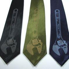 Mens Necktie  Monkey Wrench  Silk necktie in by projectorties, $30.00