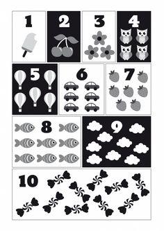 Poster Cijfers zwart-wit A3 Leer de kleintjes op een speelse manier tellen van 1 tot 10. Ontzettend leuk om te combineren met demonochrome ABC poster. Afmeting A3, 250 grams papier.  decoratie kinderkamer babykamer