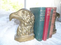 Vintage BRASS Eagle Eagles Bookends $23.57 via OrphanedTreasure Etsy #FATHER'S DAY #CELEBRATE#DAD