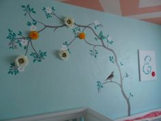 Lovely Tree Mural & Painted Zig Zag Ceiling