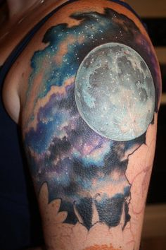 75 Space-Inspired Tattoos For People Who Are Fascina... Realistic Moon Tattoo, Scenery Tattoo, Tattoo Background, Galaxy Background, Cloud Tattoo, Shoulder Tattoo, Future Tattoos, New Tattoos, Memory Tattoos
