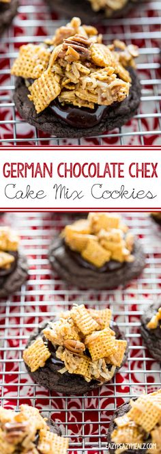 German Chocolate Chex Cake Mix Cookies are so easy to make, and the perfect dessert! It is like German chocolate cake meets chex mix, all combined with chocolate ganache. Basically they rock. #ad #WincoCheer - Eazy Peazy Mealz