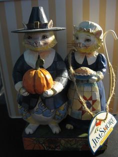 Jim Shore Heartwood Thanksgiving 4017596 Paws & Give Thanks PILGRIM CATS