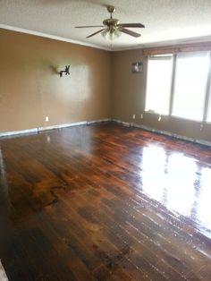 Autumn in Oklahoma: Brown Paper Flooring. If you are considering doing Brown Paper Flooring, Please read this! Wood Flooring Faux, Paper Flooring, Staining Floor