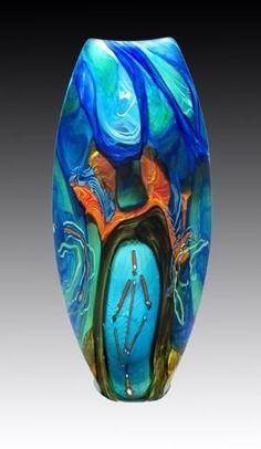 Glass art vase vase deco, glass artwork, objet d'art, glass d Art Of Glass, Blown Glass Art, Glass Artwork, Cut Glass, Glass Ceramic, Mosaic Glass, Fused Glass, Stained Glass, Cristal Art
