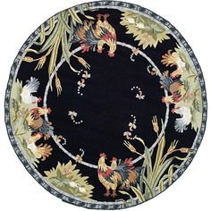Safavieh Hand-hooked Roosters Black Wool Rug (4' Round) - Overstock™ Shopping - Great Deals on Safavieh Round/Oval/Square