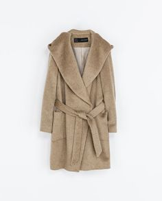 BELTED COAT WITH HOOD by Zara