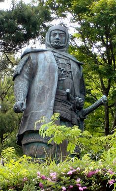 Statue of Uesugi Kenshin which stands at Kasugayama Castle in Joetsu city #Samurai