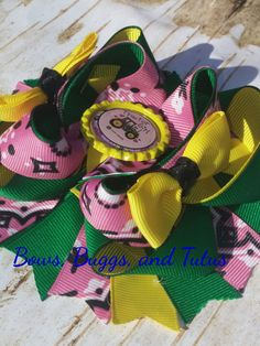 John Deere hair bow tractor hair bow country by BowsBuggsandTutus
