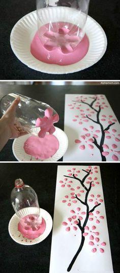 A coca-cola acabou? Não tem problema. Faça arte! Que tal uma árvore de cerejeira?