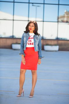 Work Chic Outfits, Work Chic Styles, Outfit ideas for the office , denim jacket, red skirt, styling a denim jacket