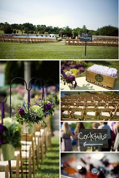 Amanda, what about putting a flower arrangement like this at end of chairs on black shepard hook or white?