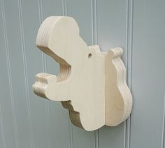 Wall hooks Hippo wall hook: plywood animal head by thejunglehook