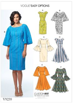 Vogue Patterns Sewing Pattern Misses' Princess Seam Dresses with Sleeve and Skirt Variations Vogue Patterns, Easy Sewing Patterns, Vintage Sewing Patterns, Clothing Patterns, Sewing Ideas, Blog Couture, Diy Vetement, Sewing Blogs, Princess Seam