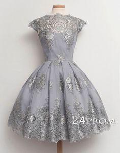 Retro Ball Gown Short Lace Prom Dresses – 24prom #prom #promdress #dress