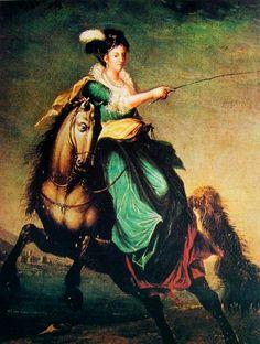 """""""Carlota Joaquina Montada a Cavalo"""". (by Domingos Sequeira)."""