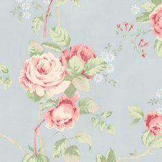 Lovely blue & pink floral wallpaper.. vintage kitsch meets english countryside