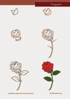 kerajinan anak SD/paud, cara & langkah menggambar bunga mawar