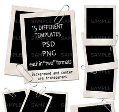 15 Vintage Polaroid Photo Frame Templates PSD PNG by AdoClipArt, $4.99