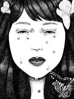 「島」1枚目。涙と女の子です。近いのに遠い。