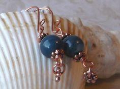 Dangle earrings  Copper & blue river shell  by LifeStoneJewelry, $9.25