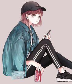 Anime. Anime Girl.  Manga. Manga Girl.  Art. Artwork. Cute. Kawaii. Pose. Short Hair.  Black Hat. Jacket. Jeans. Headphones.