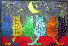 "Mosaic for Mom? ""Purrfect Night"" Six Kitties sitting on a fence admiring the moon and stars. Mosaic Garden Art, Mosaic Tile Art, Mosaic Flower Pots, Mosaic Artwork, Mosaic Glass, Stained Glass, Mosaic Animals, Mosaic Birds, Mosaic Art Projects"